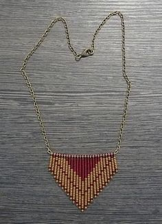 DIY - Collier ethnique/aztèque - coloris rouge  bronze