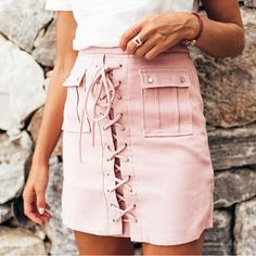 lace up pink suede leather skirt mini pencil goodnight macaroon outfit fall 2016 Summer Dress, Summer Outfits, Cute Outfits, Spring Summer Fashion, Autumn Fashion, Estilo Hippie Chic, Style Streetwear, Sport Outfit, Hipster Grunge
