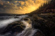 Sunset along Maine's rocky coast, somewhere in Acadia National Park. [3923 × 2594] #nature and Science