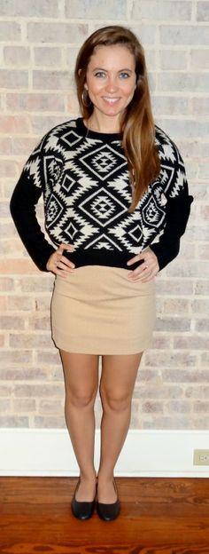 Black and white aztec sweater, light tan skirt, flats - Studio 3:19