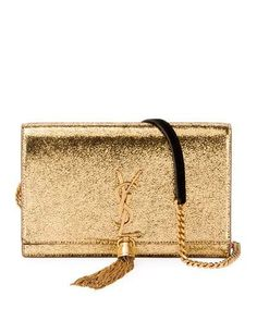 Saint Laurent Kate Monogram YSL Small Crackled Metallic Wallet on Chain - Bronze Hardware Saint Laurent Handbags, Yves Saint Laurent Bags, Metallic Bag, Metallic Leather, Small Black Crossbody Bag, Crossbody Bags, Ysl Purse, Leather Business Card Holder, Wallet Chain