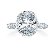 A Jaffe Dazzling Oval Diamond Engagement Ring