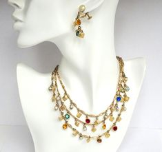 Fun necklace and earrings Accessocraft NYC 3 Strand Charm Necklace and Earrings – Vintage Jewelry – Statement Necklace https://etsy.me/2qpCIrj #jewelry #accessocraftnyc #accessocraftjewelry #charmnecklace #charmearrings #vintage #3strandnecklace #1960sjewelry #dangle