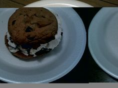 Home made chocolate chip cookies with Reese Cup Ice Cream