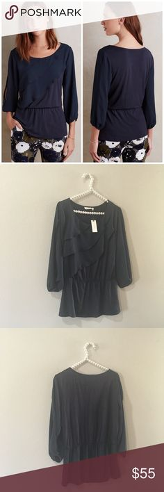 SALE NWT Anthropologie Deletta Ruffle Blouse So cute and perfect for fall! Looks great with a leather jacket and florals. Brand new with tags! No trades!! 010141690gwb Anthropologie Tops Blouses