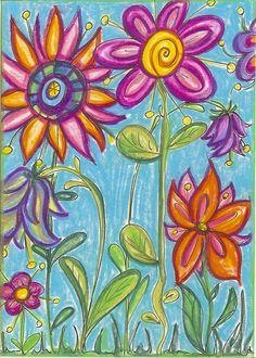 Blumenwelt mit Neocolor gemalt