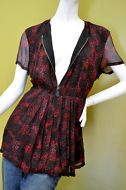 Burberry Brit women's $395 silk burgundy pink black tunic dress shirt sz L