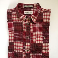 Orvis Patchwork Shirt Mens XL Red Madras Plaid 100% Cotton Long Sleeve Button Up #Orvis #ButtonFront