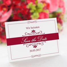 Save the Date Karte Hochzeit Bella rot: https://www.meine-hochzeitsdeko.de/save-the-date-karte-hochzeit-bella