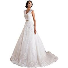 TBB Double V-neck Sleeveless Lace applique And Satin A-line Wedding Dress (White)