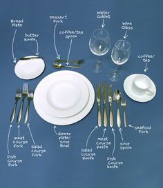 Diagram on how to set the table - only thing they left out is which side to place the napkin on (I always forget this!)