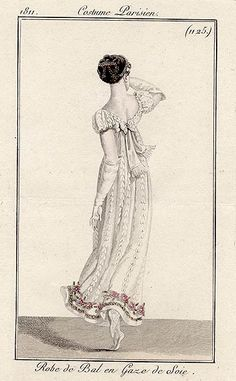 A linear sprigged ball gown, 1811 Costume parisien
