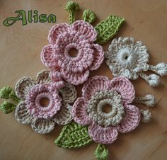 Application 5 pieces flowers and buds and leaves by AlisaSonya