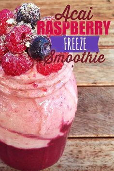 May 2019 - This 2 layer Acai Raspberry Smoothie is the perfect snack, breakfast or post-workout treat! It's a perfect introduction to acai recipes! Acai Recipes, Smoothie Recipes With Yogurt, Breakfast Smoothie Recipes, Fruit Smoothie Recipes, Good Smoothies, Vegan Recipes, Vitamix Recipes, Delicious Recipes, Smoothie Blender