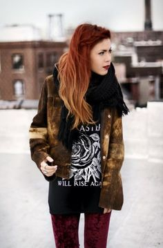 If I'm brave enough this Spring... I want this hair!   Ombre Red Hair Picture  (ombre red hair,boho,hipster)