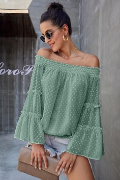 Green Swiss Dot Off The Shoulder Top, Tops & Tees, Wholesale Tops & Tees, Affordable Tops & Tees Flowy Tops, Loose Tops, Tunic Tops, Dress Tops, Bell Sleeve Blouse, Bell Sleeves, Gouts Et Couleurs, Mode Online, Off Shoulder Tops