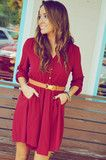 Sweet And Simple Dress: Burgundy
