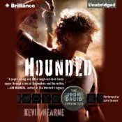 Hounded: The Iron Druid Chronicles, book 1 by Kevin Hearne.  I've got both the audio book and epub versions of this whole series.  I like being able to read along.