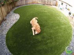 Fake grass, bordered by gravel