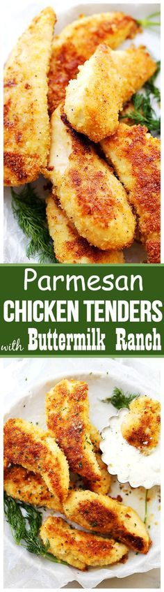 Parmesan-Crusted Chicken Tenders with Buttermilk Ranch Dressing - Flavorful, easy to make crispy parmesan Chicken Tenders coated with panko breadcrumbs and parmesan cheese, served with a side of homemade Buttermilk Ranch Dressing. A delicious meal for the whole family!
