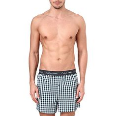 CALVIN KLEIN Plaid woven boxers (Ash check