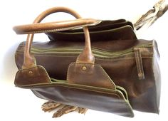 Matt & Nat Bag Vegan Doctor Art Deco Brown Distressed RARE Speedy Large Stiff Faux Leather Eco Train Handbag Satchel Tote Organizer Purse by MushkaVintage3 on Etsy