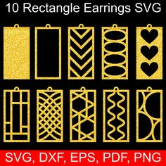 Rectangle Earrings SVG bundle with 10 SVG Earring with holes templates. Pendant and Earrings SVG cut files for Cricut Explore & Cricut Maker, Silhouette Portrait & Silhouette Cameo, Brother Scan'n Cut, Laser Cut, Die cutting, CNC and paper, vinyl, leather, wood cutting machines that accepts SVG