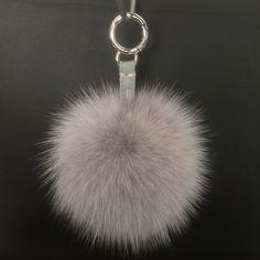 Bag charms/Μπρελόκ : Hand stiched Pale Grey fox pompom