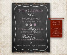 1st Birthday Time Capsule First Birthday Chalkboard by PAINTandPEN, $12.00