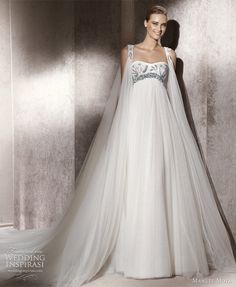 """Manuel Mota for Pronovias, 2012 Collection - """"Edelweist"""". Beautiful empire waist gown with embroidered detail + matching cape-like coat. Tulle Wedding, Cheap Wedding Dress, Designer Wedding Dresses, Bridal Dresses, Maternity Wedding, Prom Dresses, Wedding Cape, Dresses 2013, Rhinestone Wedding"""