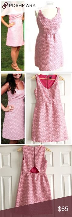 I Heart Ronson Pink & White Dress Sleeveless dress with keyhole at lower back, exposed zipper on back, and hidden zipper on side. Lined at top. Cinched in waist, vneck. I Heart Ronson size extra small. Worn once to a wedding. I Heart Ronson Dresses