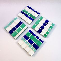 Custom Made Set Of 4 Mosaic Glass Coaster Set In Blue, Teal, & White