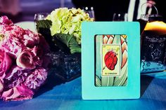 Loteria Table Numbers :  wedding blue centerpiece cinco de mayo diy flowers loteria mexican pink reception silver table numbers teal