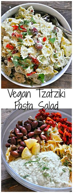 This incredible vegan tzatziki pasta salad is perfect for warm weather days. Creamy and rich vegan tzatziki sauce tossed with pasta and veggies. It is amazing! recipe salad Vegan Tzatziki Pasta Salad - Rabbit and Wolves Vegan Foods, Vegan Vegetarian, Vegetarian Recipes, Healthy Recipes, Vegetarian Pasta Salad, Vegan Lunches, Warm Pasta Salad, Salad Recipes Vegan, Smoothie Recipes