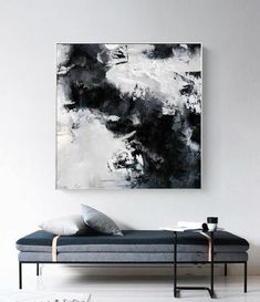 Black and white painting, large abstract painting, horizontal wall art, handmade large wall . Black And White Wall Art, Black And White Painting, Large Canvas Art, Large Wall Art, Black Canvas Art, Modern Canvas Art, Oil Painting Abstract, Abstract Wall Art, Large Painting