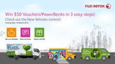 Win $50 Shopping Vouchers/PowerBank in 3 easy steps! 20 winners will be picked by 17 March 2014.   Step 1: Like Fuji Xerox Singapore Facebook Step 2: Share and like the contest picture shown here Step 3: Submit your particulars  Good Luck!