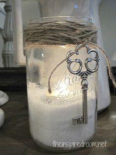 sklenice, sůl, svíčka, provázek