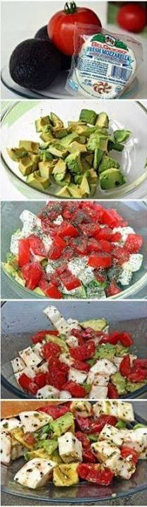 Refreshing... Mozzarella/Avocado/Tomato Salad. Yum!