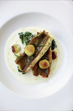 Dover sole fillets with lemon sauce and wild garlic dumplings recipe from British Seafood by Nathan Outlaw | Cooked