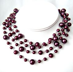 Plum Purple Infinity Glass Pearl Necklace by WeddingsByCarrie, $25.00