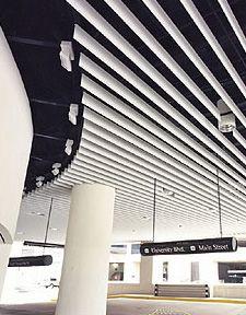 Flame-retardant suspended ceiling / metal / strip FIN MATE Gordon Inc. Shopping Mall Interior, Retail Interior, Interior Exterior, Baffle Ceiling, Metal Ceiling, Ceiling Finishes, Office Ceiling, Acoustic Wall, Ceiling Light Design