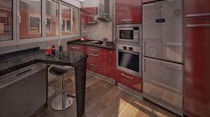 Diseño de una pequeña cocina con ninguna pared a 90 grados