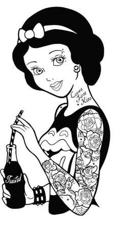 Disney Princess Coloring Pages, Disney Princess Colors, Disney Princess Tattoo, Geometric Coloring Pages, Cool Coloring Pages, Silhouette Cameo Disney, Punk Disney Princesses, Image Font, Disney Images