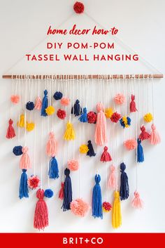 Learn how to make a pom-pom tassel wall hanging with this home decor DIY project.
