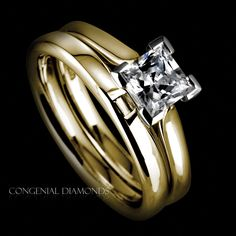 Princess cut diamond set in a yellow band