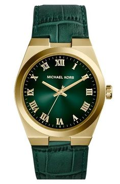 MICHAEL Michael Kors Michael Kors 'Channing' Leather Strap Watch, 38mm available at #Nordstrom Price $198.00 #reloj #relojdorado #relojes #relojesdorado #relojespana #relojespana #relojmk #relojesmk