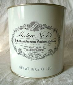 Vintage SUTLIFF No 79 Mild Aromatic Smoking Tobacco Collectible Tin Black White Tobacco Smoking, Tobacco Pipes, Advertising, Ads, Coffee And Books, Vintage Tins, Light Up, Whiskey, Cool Designs