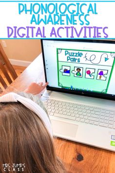 Phonological Awareness digital activities to practice rhyming, syllables, letter sounds, word concepts, onset & rime, and sounds in words. Available for Boom Cards, Seesaw, and Google Slides!