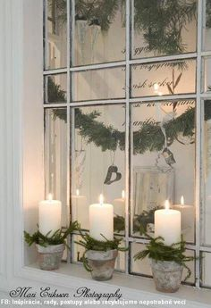 Swedish Christmas decoration - maybe the flower pot candles.One Great idea for different Christmas decoration of our home. Noel Christmas, Christmas Candles, Country Christmas, All Things Christmas, Winter Christmas, Vintage Christmas, Christmas Crafts, Natural Christmas, Simple Christmas