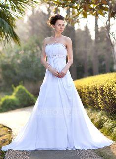 Empire Strapless Court Train Chiffon Wedding Dress With Ruffle Beading (002001417) - JJsHouse